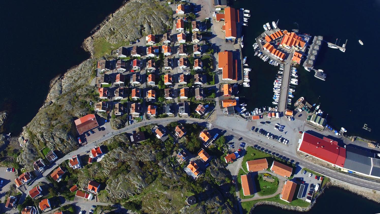 drönarfotografi över Klädesholmen